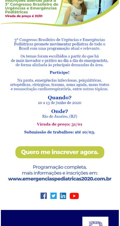 Inscrições abertas para o 3º Congresso Brasileiro de Urgências e Emergências Pediátricas