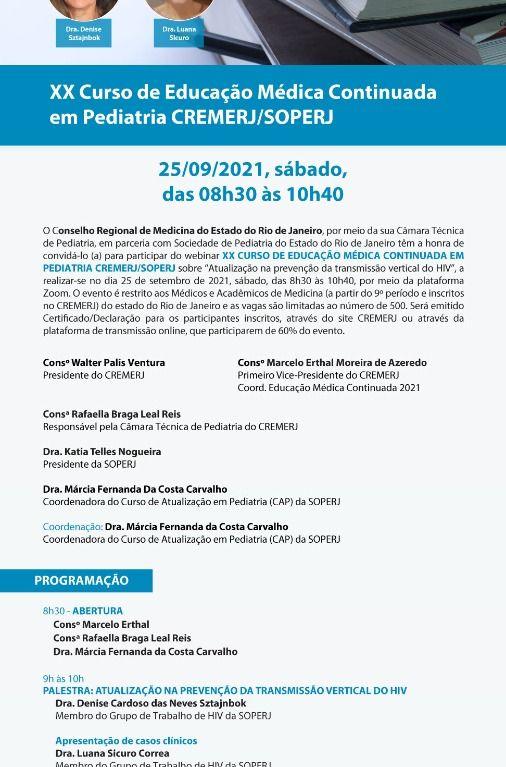 XX Curso de Educação Médica Continuada em Pediatria CREMERJ/SOPERJ